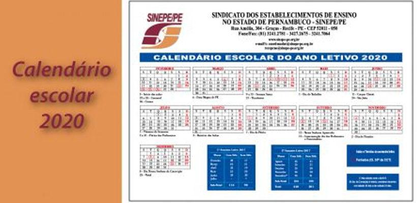 Disponível calendário escolar 2020